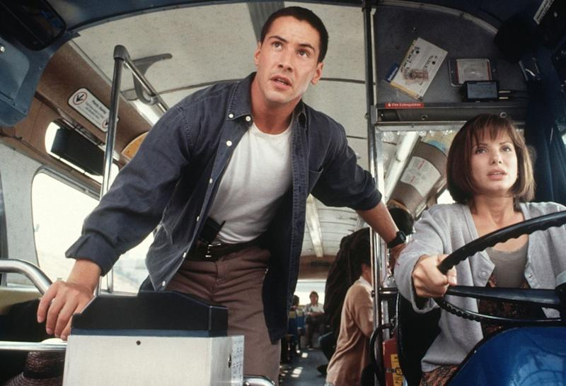 Keanu Reeves and Sandra Bullock in 1994's <em>Speed</em>