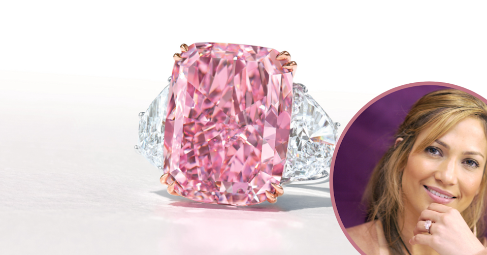 'The Sakura' - the largest purple pink flawless diamond sold at auction and Jennifer Lopez wearing a pink diamond engagement ring