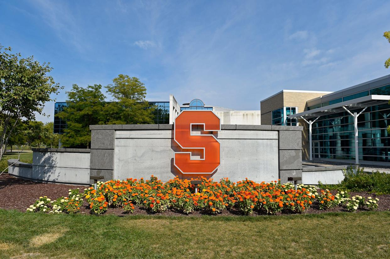 The Syracuse Orange logo outside of the Iocolano-Petty Football Complex on Sept., 17, 2016, on the campus of Syracuse University in Syracuse, New York.