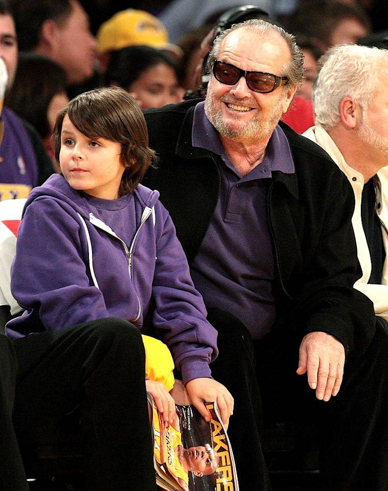 "The Lakers' biggest fan, Jack Nicholson, and his grandson Sean show their purple pride. Noel Vasquez/<a href=""http://www.gettyimages.com/"" target=""new"">GettyImages.com</a> - November 5, 2008"