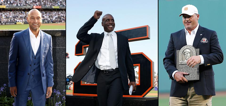 Derek Jeter, Barry Bonds and Roger Clemens are the biggest names on the Hall of Fame ballot for 2020. (Getty Images)