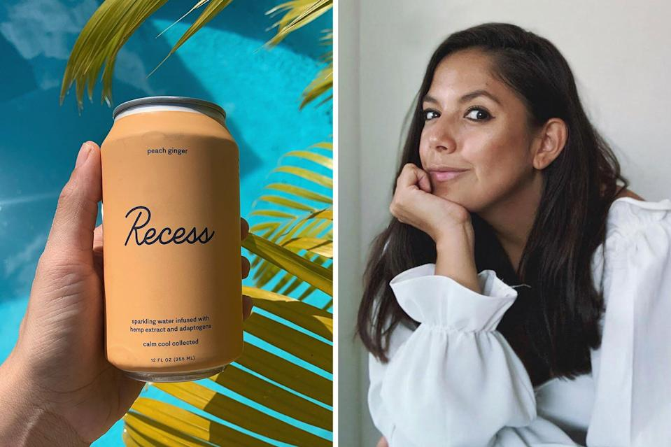 can of Recess and portrait of Andrea Hernandez