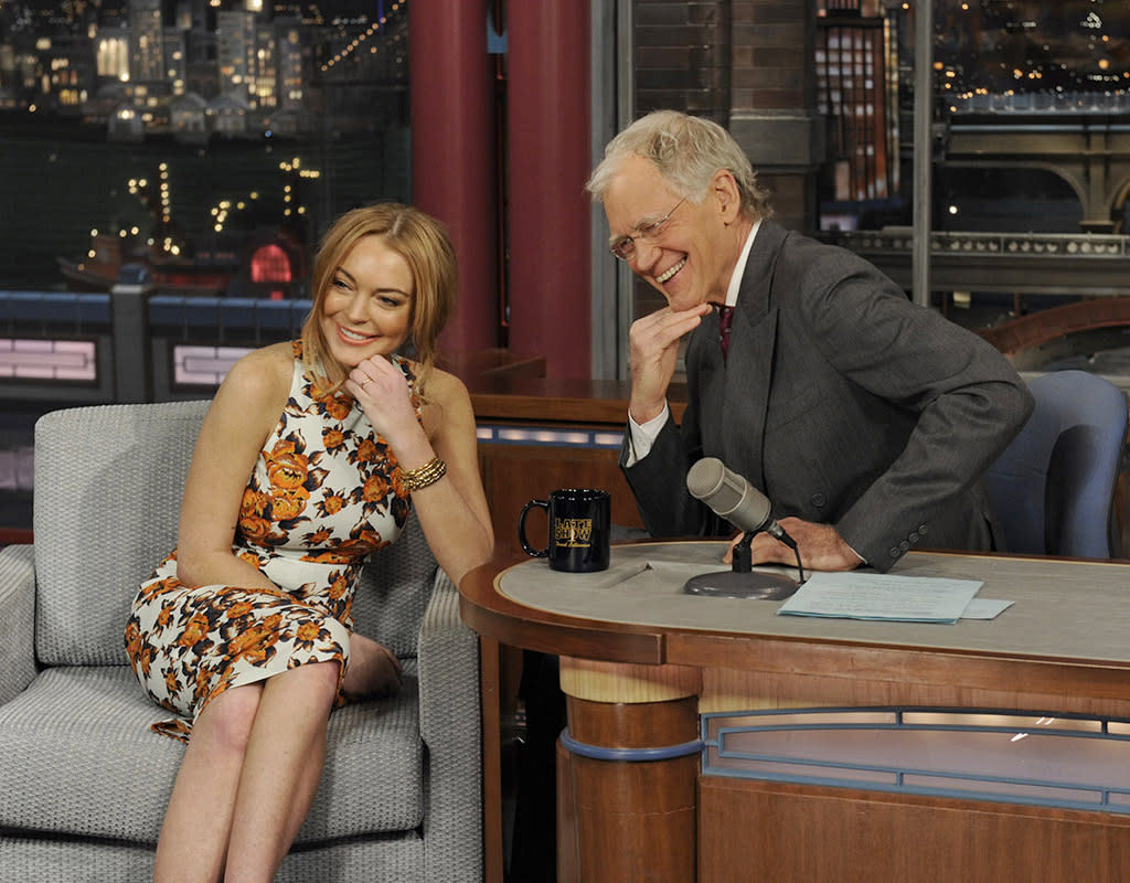 """<p><b>HIGH: A Tearful 'Letterman' Appearance</b> <b>(2013)</b><br />David Letterman wasn't afraid to grill his guest about her upcoming stint in rehab … and it led to a pretty heartfelt discussion in April 2013. After Lindsay laughed off many of the jokes the host made at her expense, she teared up when Letterman praised her for having """"enough spine, enough sense of [yourself], and enough poise"""" to come on the show. And the 20something stood her ground when it came to making light of her serious situation. """"I'm looking forward to actually just taking time for me. You can't make a joke of it. That's so mean."""" Viewers were finally impressed.<br /></p>"""
