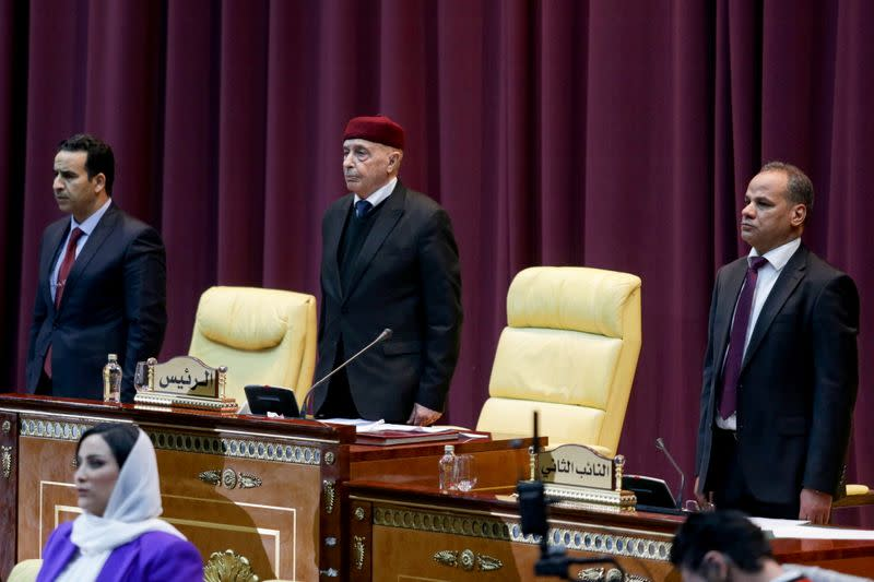 Parliament head Aguila Saleh attends a session to discuss approving new government, in Sirte