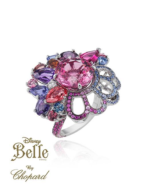 <b>Belle </b><br><br>Strong shades of magenta feature in Belle's massive sparkling ring.