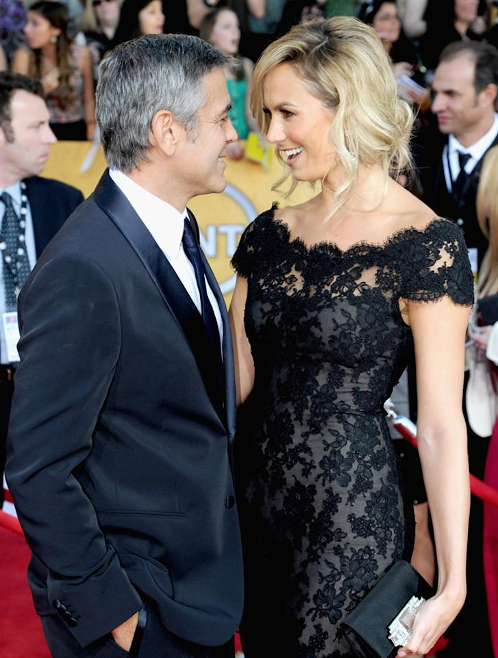 "George Clooney's ""ready to take the plunge,"" reports <i>In Touch</i>, which reveals his girlfriend Stacy Keibler was ""spotted trying on engagement rings"" at the New York jewelry store Jacob & Co. The mag also notes Keibler recently checked out several ""breathtaking wedding gowns"" from Vera Wang. For when the couple plans to wed, see what a Keibler friend tells <a target=""_blank"" href="" http://www.gossipcop.com/stacy-keibler-engagement-ring-rings-shopping-pic-george-clooney-wedding-dress/"">Gossip Cop</a>."