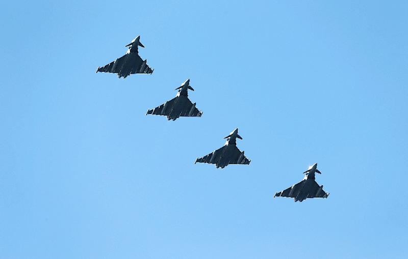 British Eurofighter Typhoons from Royal Air Force arrive at Bodoe Main Air Station on the first day of NATO's Arctic Challenge Exercise on May 25, 2015