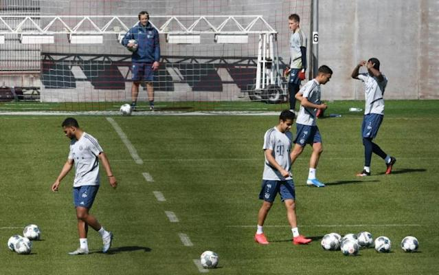 Bayern Munich's players resumed training with restrictions (AFP Photo/Christof STACHE)