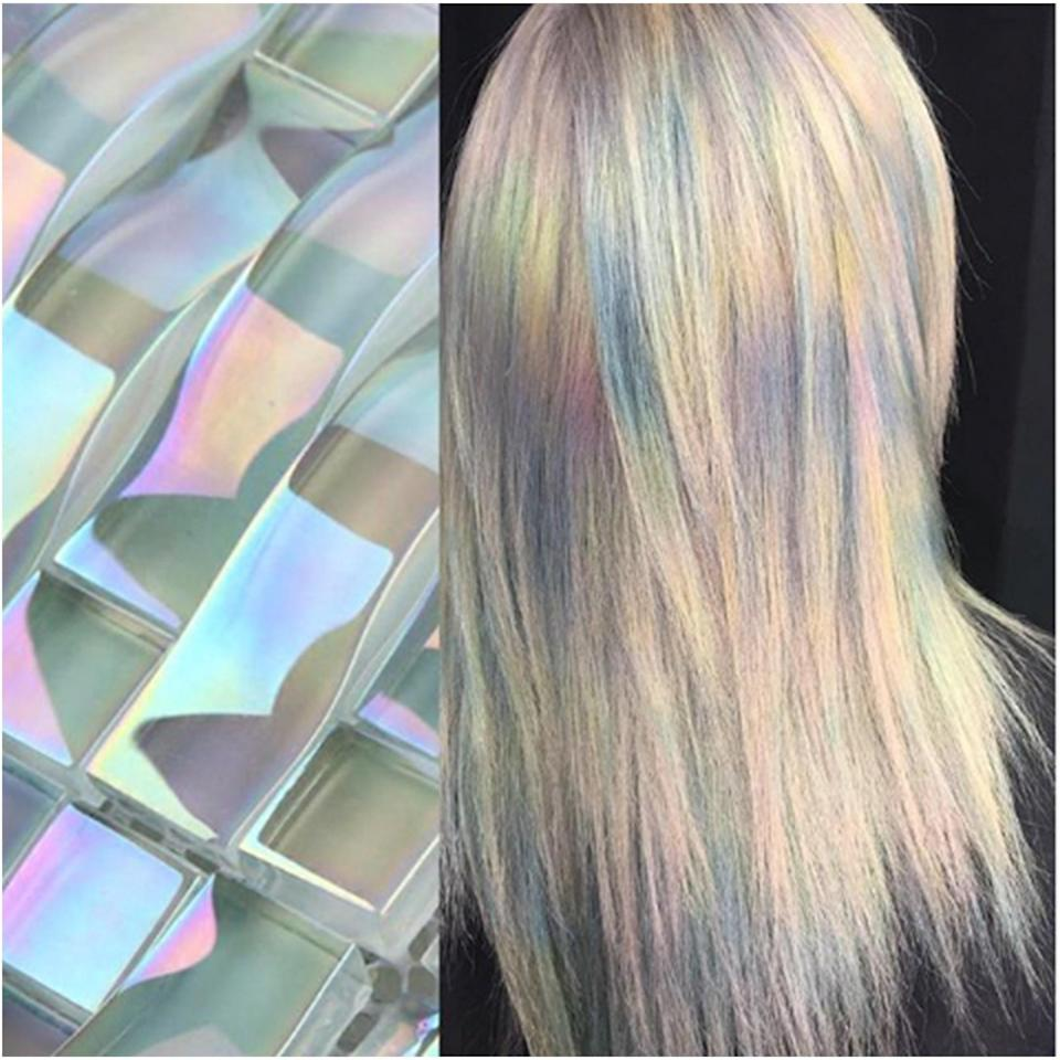 Kansas-based colorist Ursula Goff used a combination of metallic Redken shades with a faded pastel base to create this multi-dimensional look.