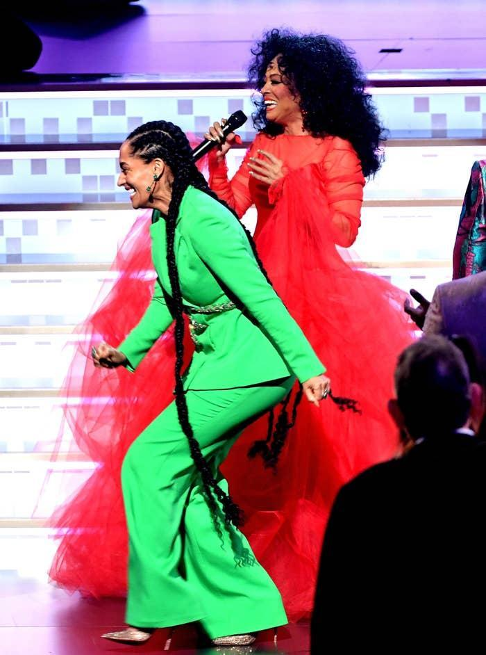 Tracee Ellis Ross and Diana Ross are photographed together while Diana performs onstage