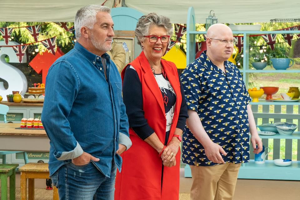 Jake Gyllenhaal also said he'd like to meet Paul Hollywood (L), here pictured with Prue Leith and Matt Lucas. (Channel 4)