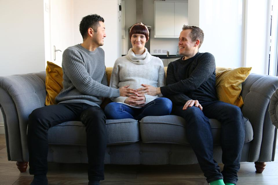 The Surrogates. Intended parents Aki (left) and Kevin (right), with their heavily pregnant surrogate, Emma (middle). (BBC/Sundog Pictures)