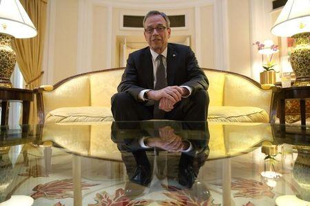 Canada's Finance Minister Joe Oliver poses in London