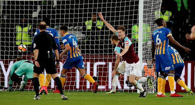 Soccer Football - FA Cup Third Round Replay - West Ham United vs Shrewsbury Town - London Stadium, London, Britain - January 16, 2018 West Ham United's Reece Burke celebrates scoring their first goal REUTERS/David Klein