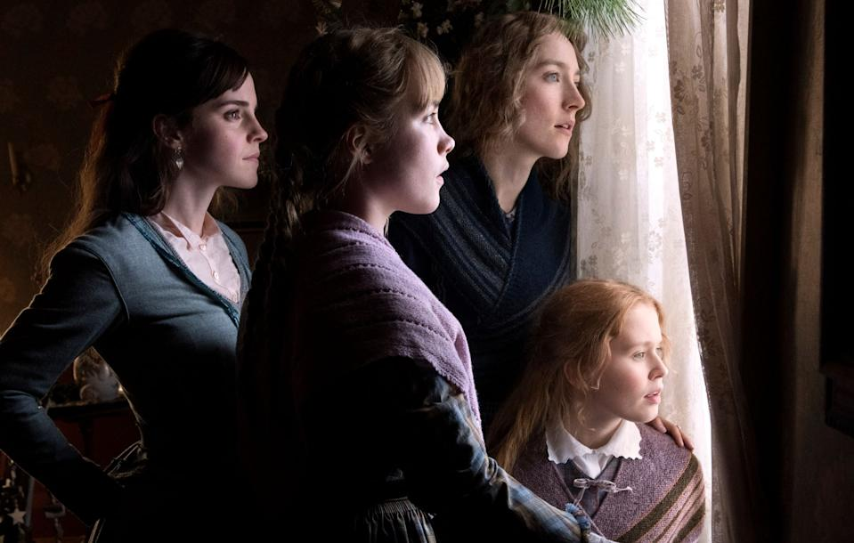 (L-R) Emma Watson, Florence Pugh, Saoirse Ronan, and Eliza Scanlen as the March sisters.