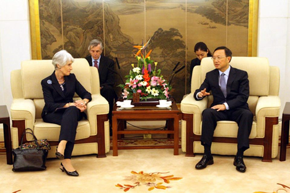 Wendy Sherman, then the under secretary of state for political affairs, is seen meeting Chinese vice-foreign minister Zhai Jun in August 2012. Photo: Chinese Ministry of Foreign Affairs