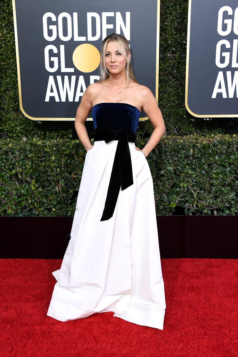 """<p><a rel=""""nofollow noopener"""" href=""""https://www.popsugar.com/fashion/Kaley-Cuoco-Dress-2019-Golden-Globes-45646240"""" target=""""_blank"""" data-ylk=""""slk:Wearing a Monique Lhuillier gown"""" class=""""link rapid-noclick-resp"""">Wearing a Monique Lhuillier gown</a> with Lorraine Schwartz jewels and Brian Atwood shoes.</p>"""