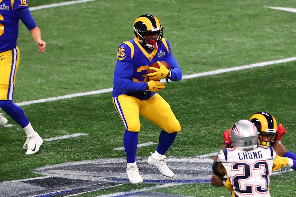 ATLANTA, GA - FEBRUARY 03:  Los Angeles Rams running back C.J. Anderson (35) during Super Bowl LIII between the Los Angeles Rams and the New England Patriots on February 3, 2019 at Mercedes Benz Stadium in Atlanta, GA.  (Photo by Rich Graessle/Icon Sportswire via Getty Images)