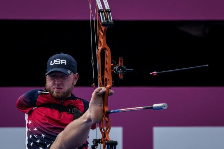 """""""The way my bow was moving I couldn't settle it and that's just something I need to practise,"""" said Matt Stutzman after his disappointing exit (AFP/Yasuyoshi CHIBA)"""