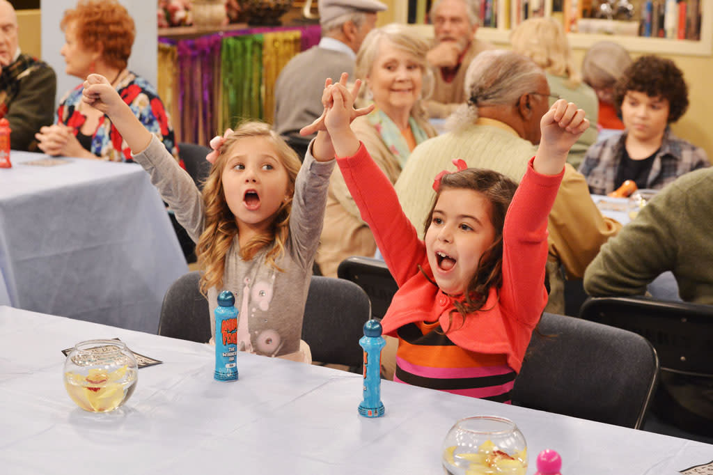 "Ruby (Rosie McClelland) and Gwen (Sophia Grace Brownlee) in the ""Sam & Cat"" episode, ""#TheBritBrats."""