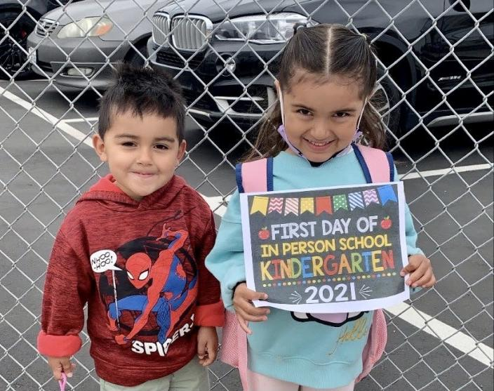 Three-year-old Roberto Galindo didn't attend preschool this year. His 6-year-old sister Alyssa attended virtual kindergarten and just recently returned to the classroom. (Michelle Galindo)