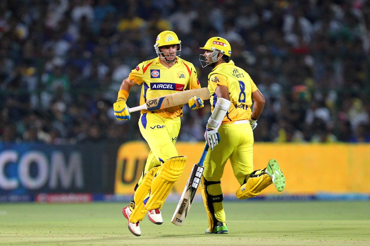 Michael Hussey and Murali Vijaytakes a run during match 61 of the Pepsi Indian Premier League ( IPL) 2013  between The Rajasthan Royals and the Chennai Super Kings held at the Sawai Mansingh Stadium in Jaipur on the 12th May 2013. (BCCI)