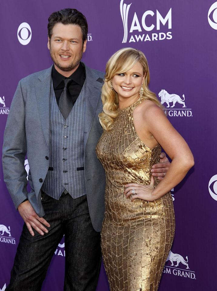Blake Shelton, left, and Miranda Lambert arrive at the 47th Annual Academy of Country Music Awards on Sunday, April 1, 2012 in Las Vegas. (AP Photo/Isaac Brekken)