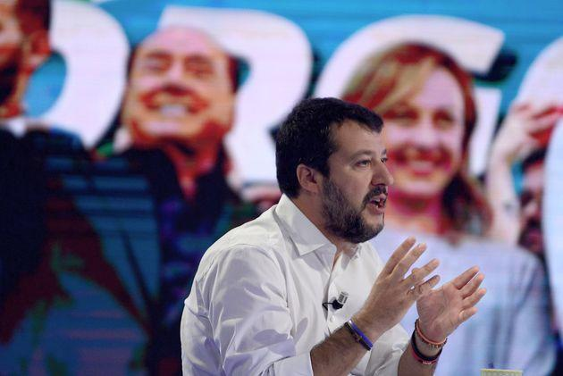ROME, ITALY - OCTOBER 21: Former Vice Premier Matteo Salvini in front of a screen with the photo of Silvio Berlusconi and Giorgia Meloni,during the television program l'Aria che Tira on October 21,2019 in Rome, Italy. (Photo by Simona Granati - Corbis/Getty Images,)