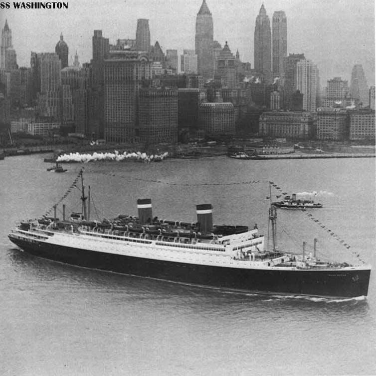 American luxury liner SS Washington with New York skyline in background.