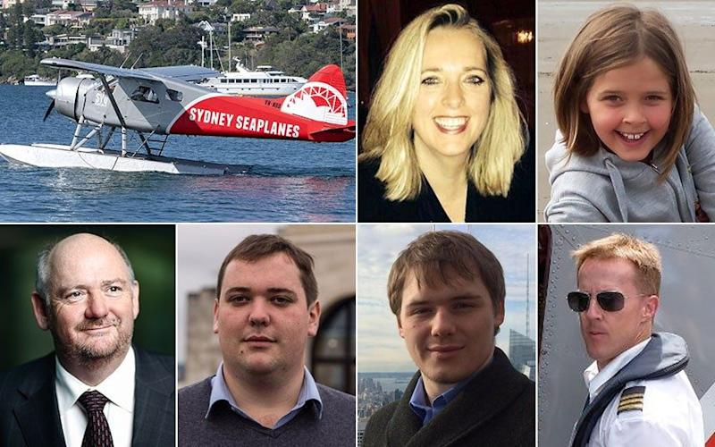 Clockwise from top right: The Sydney Seaplanes' single-engine DHC-2 Beaver Seaplane; Emma Bowden; Heather Bowden; pilot Gareth Morgan; Eddie Cousins; Will Cousins and Richard Cousins - AAP/Bloomberg/Caters