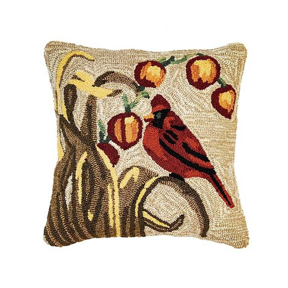 needlepoint pillow with cardinal on it, fall decoration tips