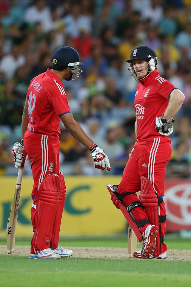 SYDNEY, AUSTRALIA - FEBRUARY 02:  Ravi Bopara and Eoin Morgan of Englandwait for the umpire decision after Morgan was caught during game three of the International Twenty20 series between Australia and England at ANZ Stadium on February 2, 2014 in Sydney, Australia.  (Photo by Mark Kolbe/Getty Images)