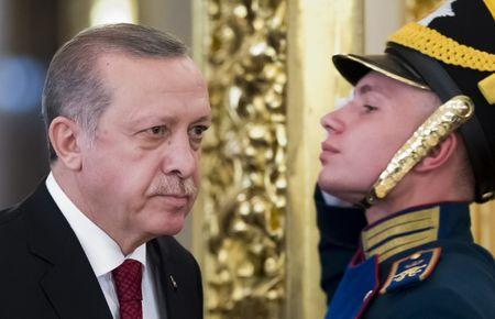 Turkish President Erdogan attends a meeting with his Russian counterpart Putin in Moscow
