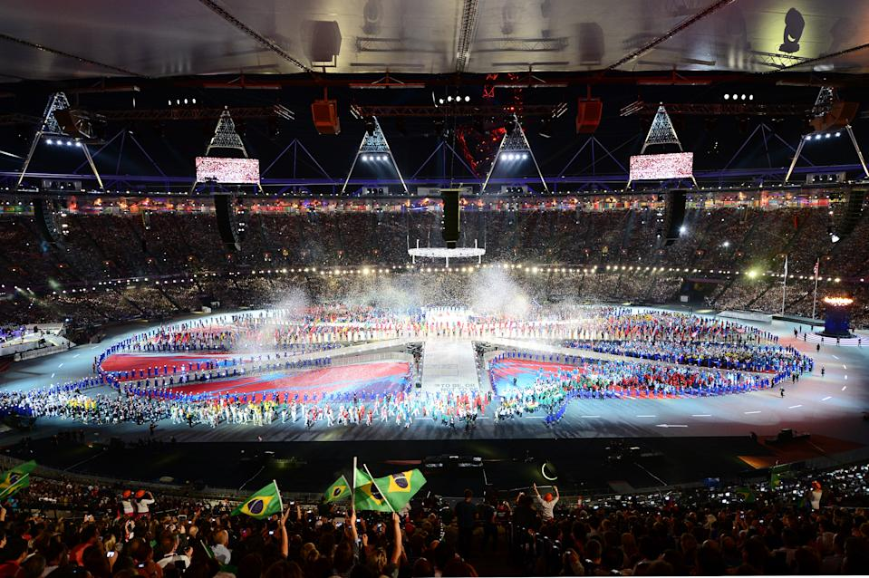 The athletes of the competing nations enter the stadium during the Closing Ceremony on Day 16 of the London 2012 Olympic Games at Olympic Stadium on August 12, 2012 in London, England. (Photo by Stu Forster/Getty Images)