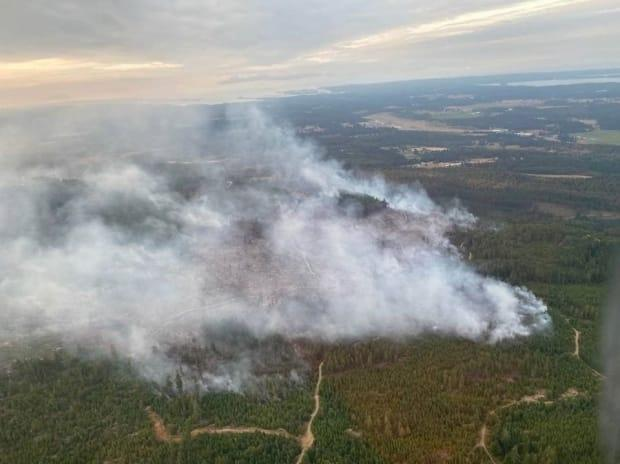 An aerial picture of the Mt. Hayes wildfire on Vancouver Island, northwest of Ladysmith, on August 21, 2021. (B.C. Wildfire Service/Twitter - image credit)