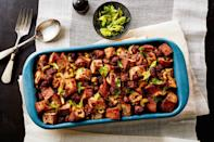 """Cranberry-nut bread and sweet Italian sausage pack a surprising amount of flavor into this super-simple stuffing. The prep time is less than half an hour, and you can make the stuffing four hours ahead, leaving it at room temperature and rewarming before serving. <a href=""""https://www.epicurious.com/recipes/food/views/3-ingredient-thanksgiving-stuffing?mbid=synd_yahoo_rss"""" rel=""""nofollow noopener"""" target=""""_blank"""" data-ylk=""""slk:See recipe."""" class=""""link rapid-noclick-resp"""">See recipe.</a>"""
