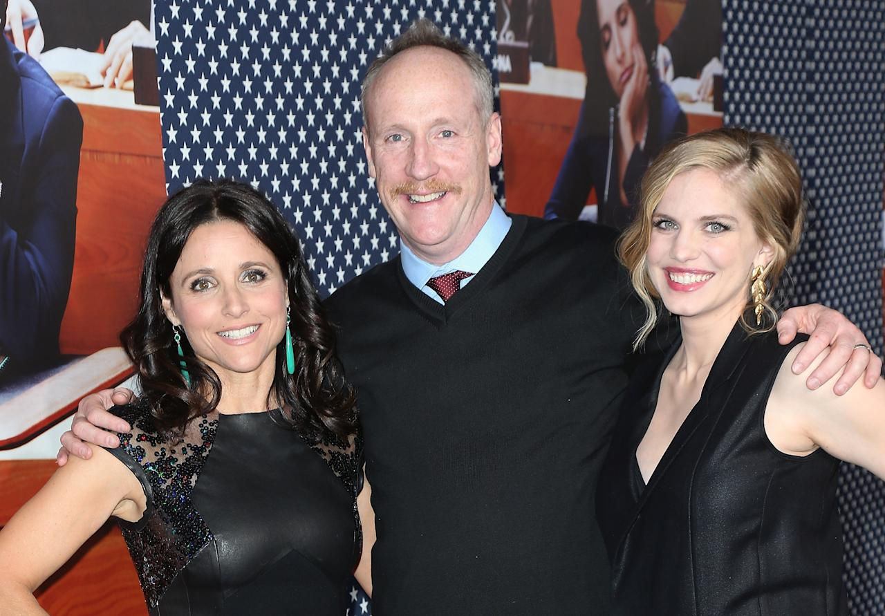 "HOLLYWOOD, CA - APRIL 09:  (L-R) Actors  Julia Louis-Dreyfus, Matt Walsh and Anna Chlumsky attend the premiere of HBO's ""VEEP"" Season 2 at Paramount Studios on April 9, 2013 in Hollywood, California.  (Photo by David Livingston/Getty Images)"
