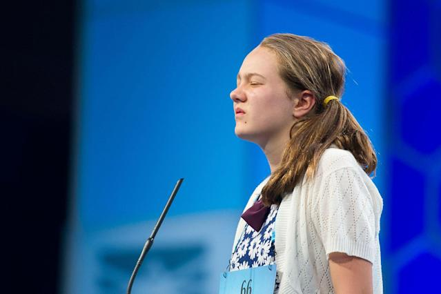 <p>Sheridan Hennessy, 11, from Cincinnati, Ohio, correctly spells her word during the 90th Scripps National Spelling Bee in Oxon Hill, Md., Wednesday, May 31, 2017. (AP Photo/Cliff Owen) </p>