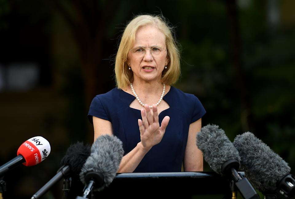 Queensland Chief Health Officer Dr Jeannette Young addresses the media during a press conference in Brisbane, Wednesday, March 31, 2021.