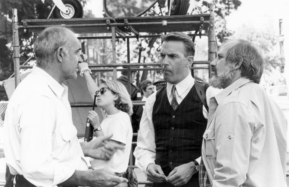 Scottish actor Sean Connery and American actor Kevin Costner with director Brian De Palma on the set of De Palma's movie The Untouchables. (Photo by Sunset Boulevard/Corbis via Getty Images)
