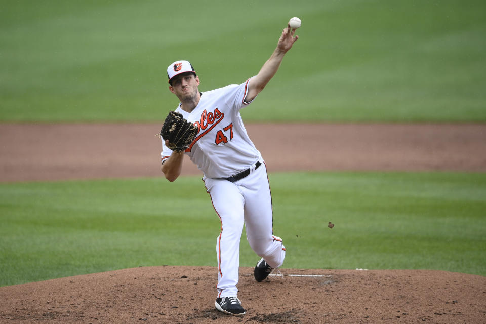 Baltimore Orioles starting pitcher John Means delivers during the third inning of a baseball game against the Atlanta Braves, Sunday, Aug. 22, 2021, in Baltimore. (AP Photo/Nick Wass)