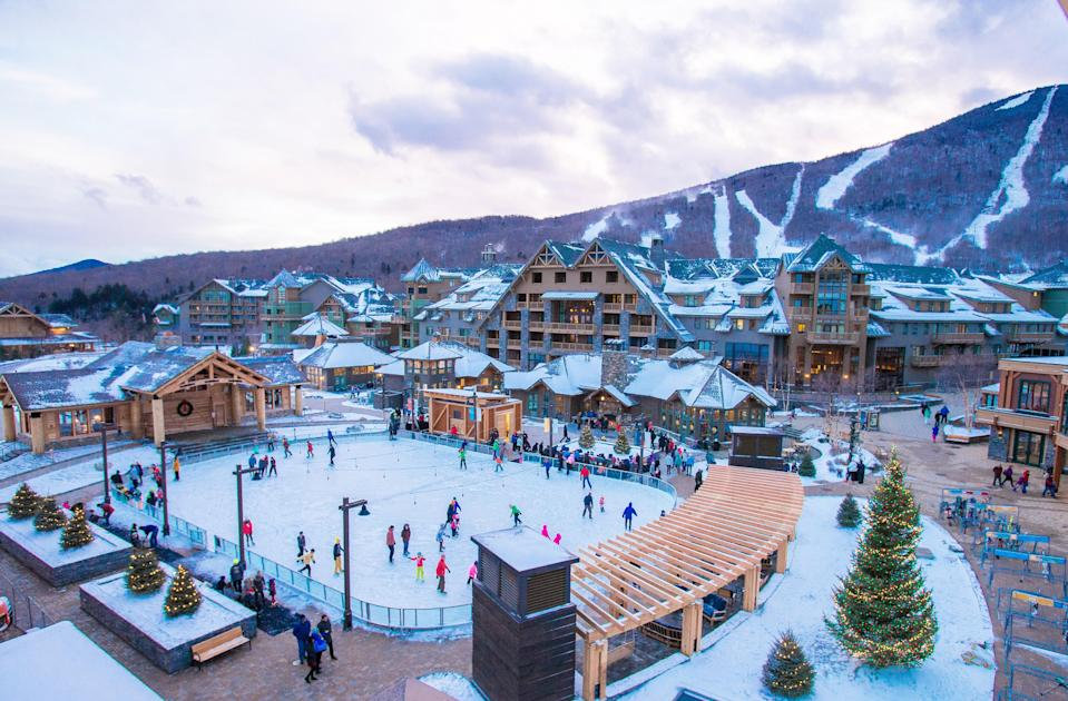 "Revel in glorious, snow-filled family fun at Stowe Vermont's charming resort and lifestyle community, <a href=""https://www.sprucepeak.com"" rel=""nofollow noopener"" target=""_blank"" data-ylk=""slk:Spruce Peak"" class=""link rapid-noclick-resp"">Spruce Peak</a>. With multiple guest stay options, from <a href=""https://prf.hn/click/camref:1100l3xo8/pubref:CNT/destination:https%3A%2F%2Fwww.expedia.com%2FStowe-Hotels-The-Lodge-At-Spruce-Peak.h1844843.Hotel-Information"" rel=""nofollow noopener"" target=""_blank"" data-ylk=""slk:The Lodge at Spruce Peak"" class=""link rapid-noclick-resp"">The Lodge at Spruce Peak</a> to grand private residences and mountain cabins, Spruce Peak is a self-contained adventure destination, where snowboarding, horseback riding, ice climbing, snowshoeing, and, of course, excellent skiing—at all levels—headline the agenda. Kids love the outdoor ice-skating rink and the adventure center with an indoor rock-climbing wall, while adults can enjoy whiskey-paired dining at the WhistlePig Pavilion, and treatments at the spa. Dogs are also <a href=""https://www.cntraveler.com/galleries/2016-03-14/the-10-most-pet-friendly-luxury-hotels-in-the-us?mbid=synd_yahoo_rss"" rel=""nofollow noopener"" target=""_blank"" data-ylk=""slk:warmly welcomed"" class=""link rapid-noclick-resp"">warmly welcomed</a> on property and can partake in many outdoor activities—including happy hour in the lobby."