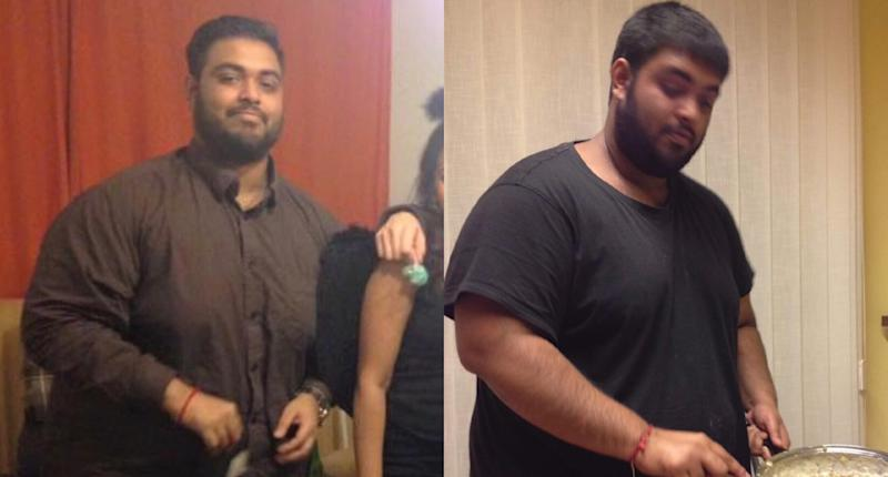 Vinodh Sivaneswaran, pictured before his weight-loss journey, weighed 300 pounds at this heaviest. (Photo: Vinodh Sivaneswaran)