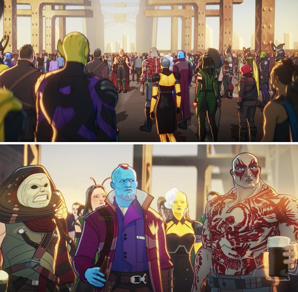 Back view of the animated crowd vs front view showing Yondu standing next to Drax