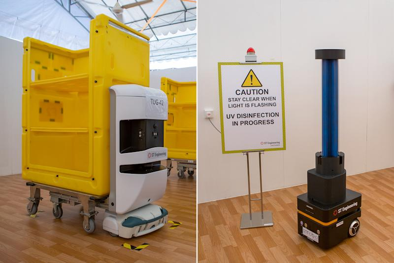 Robots are also being used at the CRF for tasks like food delivery (left) and disinfection. (PHOTO: Dhany Osman / Yahoo News Singapore)