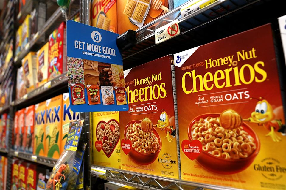 SAN RAFAEL, CA - SEPTEMBER 20:  Boxes of General Mills' Honey Nut Cheerios are displayed at Scotty's Market on September 20, 2017 in San Rafael, California. General Mills reported a lower than expected first quarter earnings as yogurt and cereal sales slump. The company had a net income of $405 million in the first quarter missing analysts estimates of $446 million. (Photo by Justin Sullivan/Getty Images)