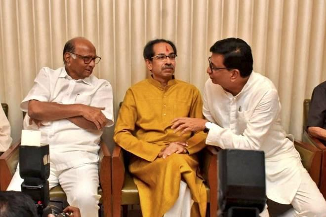 Shiv Sena chief Uddhav Thackeray with NCP chief Sharad Pawar and Maharashtra Congress president Balasaheb Thorat (PTI Image)