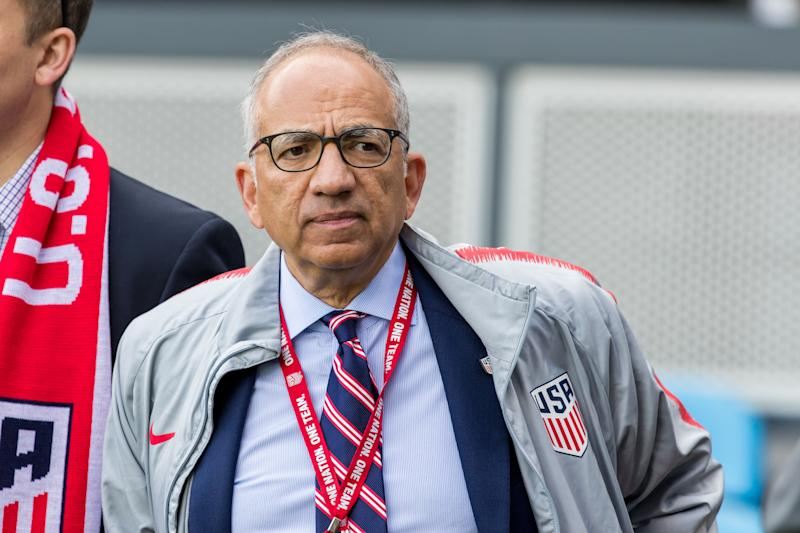 SAN JOSE, CA - FEBRUARY 02: New US Soccer president Carlos Cordeiro stands on the sidelines before the US Men's National Team friendly soccer match against Costa Rica on February 2, 2019 at Avaya Stadium in San Jose, CA. (Photo by Bob Kupbens/Icon Sportswire via Getty Images)