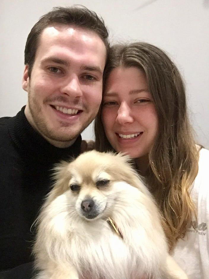 Ellie Borstad, 23, and her boyfriend of seven months, Stian Koehn Berget, 24, got stuck living together when coronavirus brought a lockdown to Madrid. They're in an unauthorized apartment, and that's not even their dog. (The dog's name is Lulu.)