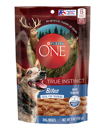 """<p><strong>Purina ONE</strong></p><p>purina.com</p><p><strong>$4.80</strong></p><p><a href=""""https://www.purina.com/purina-one/dogs/dog-treats/true-instinct-bites-venison"""" rel=""""nofollow noopener"""" target=""""_blank"""" data-ylk=""""slk:BUY NOW"""" class=""""link rapid-noclick-resp"""">BUY NOW</a></p><p>Under 2.5 calories per treat, these are the perfect size for training your pup. There are 200 treats per bag, which means these should last much longer than a two-hour-long training session. PurinaOne's main ingredient is venison and is produced in the USA, which means if there are recalls on any ingredients, you will be notified ASAP.</p>"""